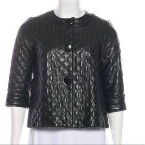 Vince Black Quilted Leather Cropped Jacket Sz 2